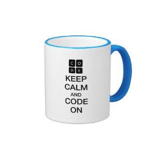 """Code.org """"Keep Calm and Code On"""" Ringer Mug"""