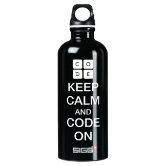 "Code.org ""Keep Calm and Code On"" Water Bottle"