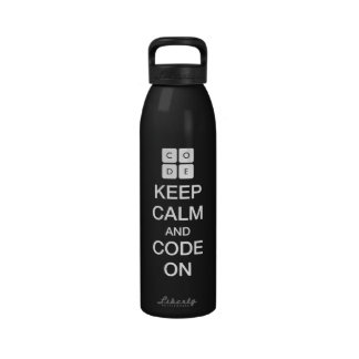 "Code.org ""Keep Calm and Code On"" Reusable Water Bottle"
