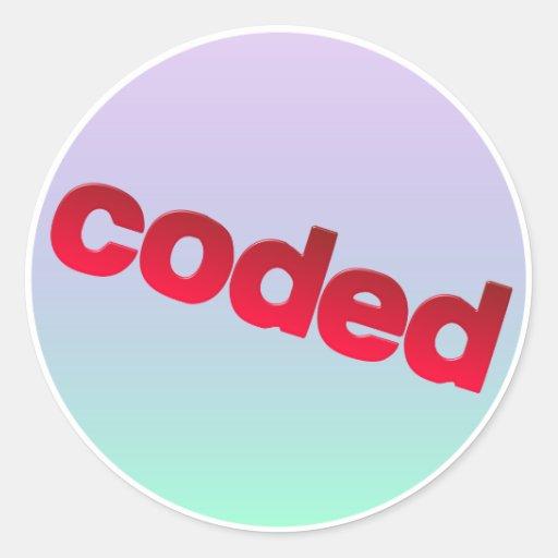 coded classic round sticker