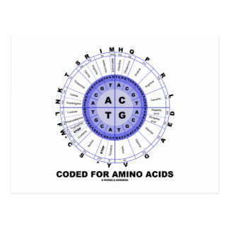 Coded For Amino Acids (Genetic Code DNA) Postcard