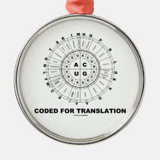 Coded For Translation (RNA Codon Wheel) Round Metal Christmas Ornament