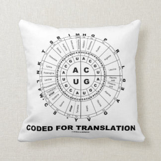 Coded For Translation (RNA Codon Wheel) Throw Pillows