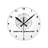 Coded For Translation (RNA Codon Wheel) Round Wall Clocks