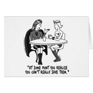 Codependent Superheroines Greeting Card