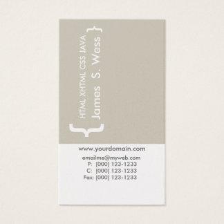 Coder Minimal CSS Computer Programmer Techie Business Card