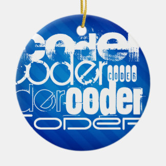 Coder; Royal Blue Stripes Double-Sided Ceramic Round Christmas Ornament