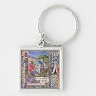 Codex 1929,f. Silver-Colored square keychain
