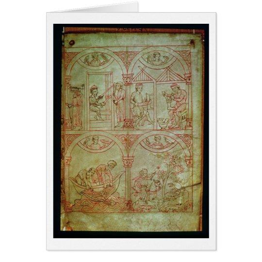 Codex 507 fol.2r Weaver, Shoemaker, Fishermen and Card