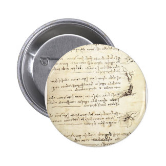 Codex on the flight of birds by Leonardo da Vinci Pinback Buttons