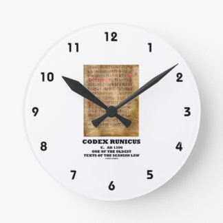 Codex Runicus c. AD 1300 One Of The Oldest Texts Round Wall Clocks