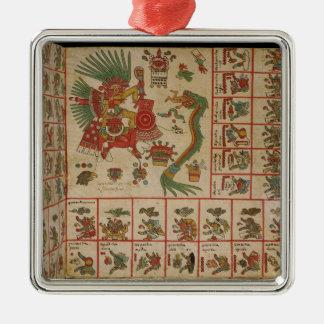 Códice azteca Borbonicus Adorno Navideño Cuadrado De Metal