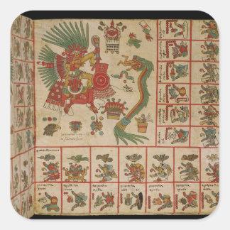 Códice azteca Borbonicus Pegatina Cuadrada