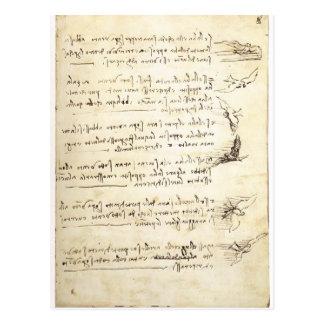 Códice en el vuelo de pájaros de Leonardo da Vinci Tarjeta Postal