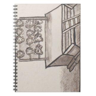 Códice florentino del estante del cráneo de libreta