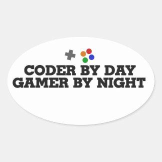 Codificador por videojugador del día por noche calcomania de oval personalizadas