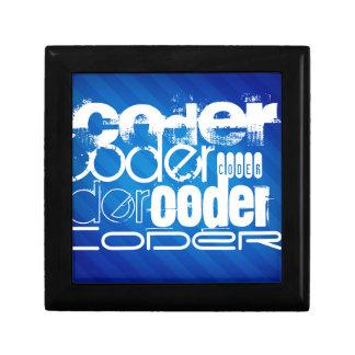 Codificador; Rayas azules reales Joyero Cuadrado Pequeño