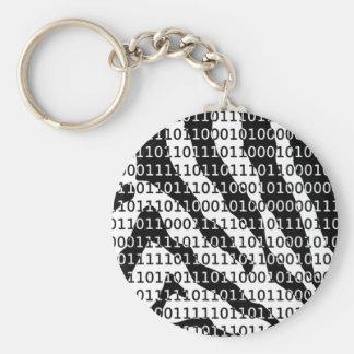 Código binario de la cebra blanco y negro llavero redondo tipo pin