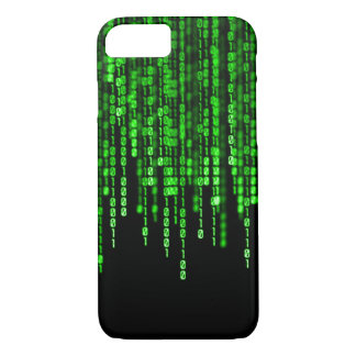 Código binario del dragón fantasma verde funda iPhone 7
