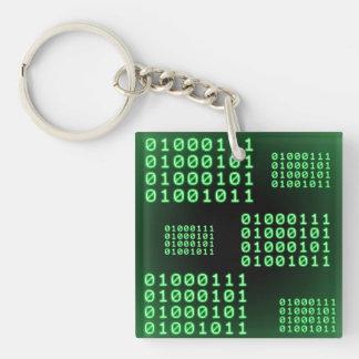 Código binario para el FRIKI Llavero Cuadrado Acrílico A Doble Cara