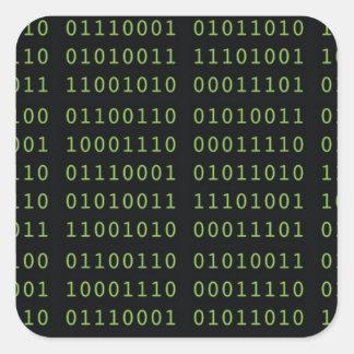 Código binario pegatina cuadrada