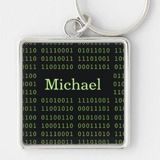 Código binario personalizado llavero cuadrado plateado