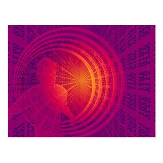Código binario temático de la tecnología tarjeta postal