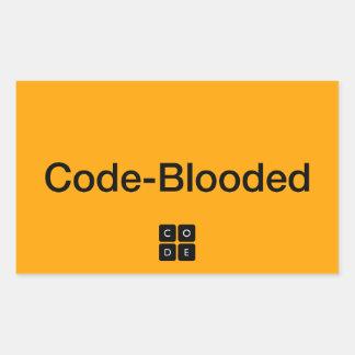Código-Blooded Pegatina Rectangular
