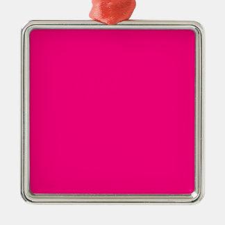 Código color de rosa rosado brillante FF007F del Adorno Navideño Cuadrado De Metal