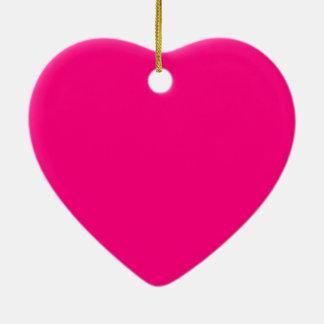 Código color de rosa rosado brillante FF007F del Adorno Navideño De Cerámica En Forma De Corazón