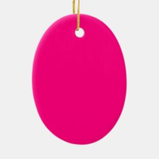 Código color de rosa rosado brillante FF007F del Adorno Navideño Ovalado De Cerámica