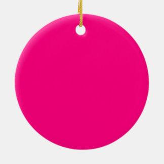 Código color de rosa rosado brillante FF007F del Adorno Navideño Redondo De Cerámica