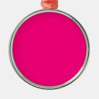 Código color de rosa rosado brillante FF007F del Adorno Navideño Redondo De Metal