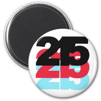 Código de área 215 imán redondo 5 cm