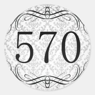 Código de área 570 pegatina redonda
