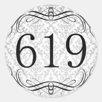 Código de área 619 pegatina redonda