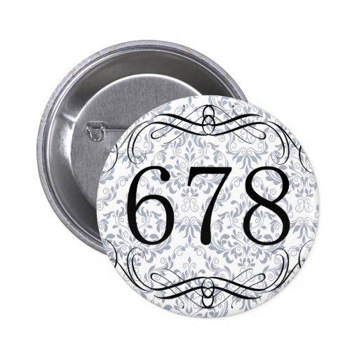 Código de área 678 pin redondo 5 cm