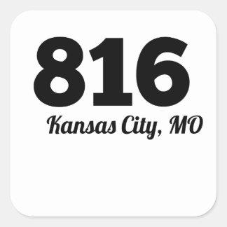 Código de área 816 Kansas City MES Pegatina Cuadrada