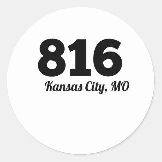Código de área 816 Kansas City MES Pegatina Redonda