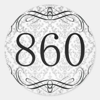 Código de área 860 pegatina redonda