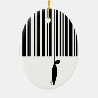 Código de barras adorno navideño ovalado de cerámica