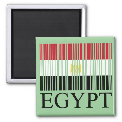 Código de barras de la bandera de Egipto Imán Cuadrado