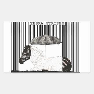 Código de barras de la cebra pegatina rectangular