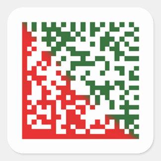 Código de barras de las Felices Navidad Pegatina Cuadradas Personalizada