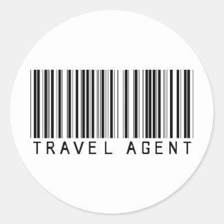 Código de barras del agente de viajes pegatina redonda