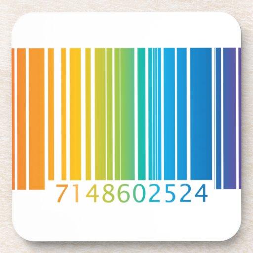 Código de barras del arco iris posavasos de bebidas
