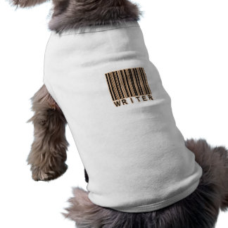 Código de barras del escritor playera sin mangas para perro