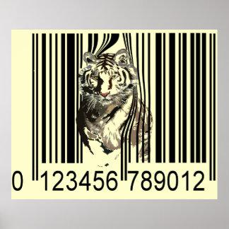 Código de barras del tigre póster
