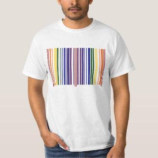 Código de barras doble del arco iris camisas