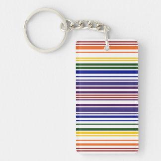 Código de barras doble del arco iris llavero rectangular acrílico a doble cara